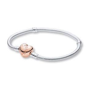PANDORA Rose Bracelet Heart Clasp Sterling Silver